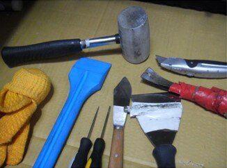 Tools required to deglaze composite door glass